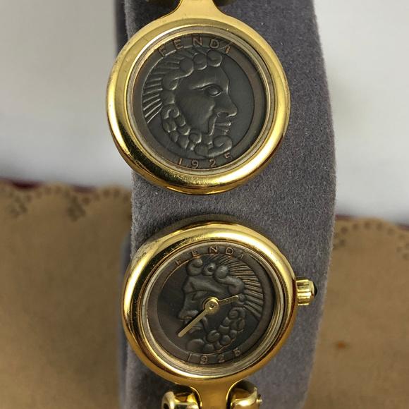 Fendi 1925 Roma Coin Watch Cuff Bracelet 18K GP